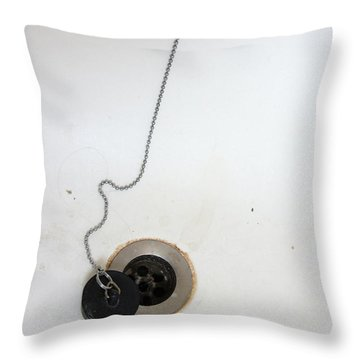 Old And Dirty Bathtub With Drain And Plug   Throw Pillow by Matthias Hauser