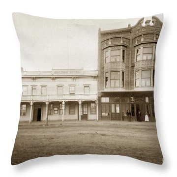 Old And New Salinas Hotel Was On West Market Street Circa 1885 Throw Pillow