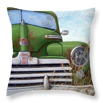 Old And Rusty Vintage Ford Realism Auto Scene Throw Pillow