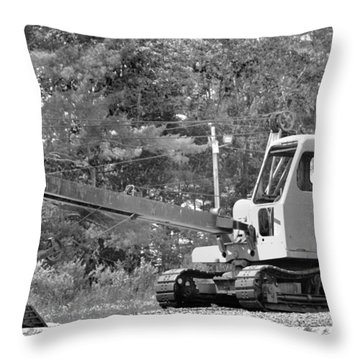 Old Backhoe Throw Pillow by Tara Potts