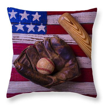 Old Ball And Glove With Bat Throw Pillow by Garry Gay