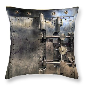 Old Bank Vault In Historic Building Throw Pillow