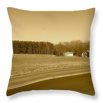 Old Barn And Farm Field In Sepia Throw Pillow by Amazing Photographs AKA Christian Wilson