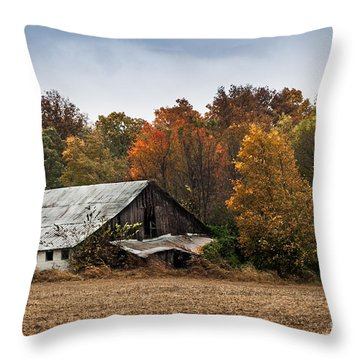 Throw Pillow featuring the photograph Old Barn by Debbie Green