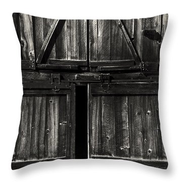 Old Barn Door - Bw Throw Pillow by Paul W Faust -  Impressions of Light