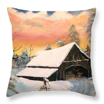 Throw Pillow featuring the painting Old Barn Guardian by Sharon Duguay