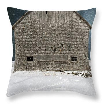 Old Barn In A Snow Storm Throw Pillow by Edward Fielding