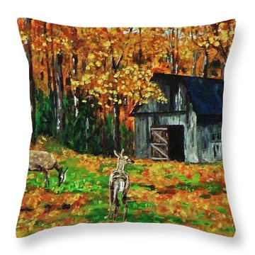 Old Barn In The Woods Throw Pillow