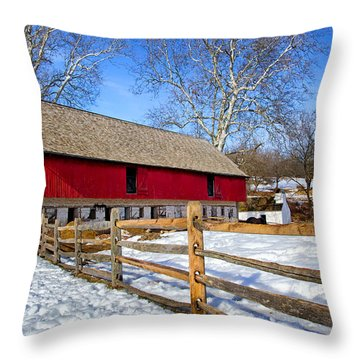 Old Barn In Winter Throw Pillow