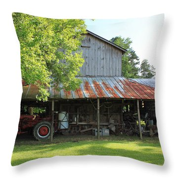 Old Barn With Red Tractor Throw Pillow