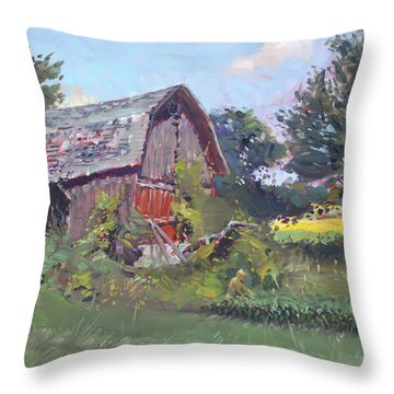 Old Barns  Throw Pillow by Ylli Haruni