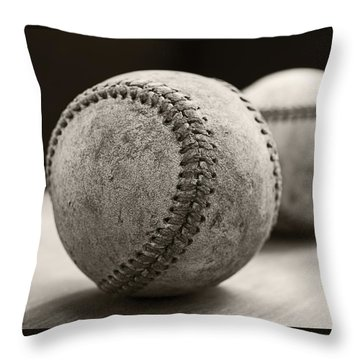 Old Baseballs Throw Pillow by Edward Fielding