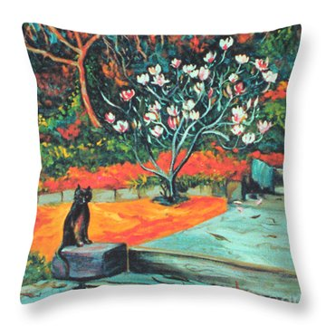 Old Bear Cat And Blooming Magnolia Tree Throw Pillow by Asha Carolyn Young