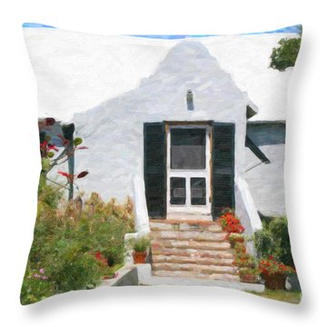 Throw Pillow featuring the photograph Old Bermuda Home by Verena Matthew