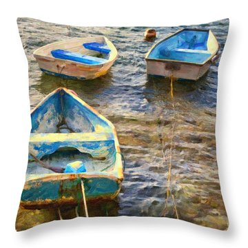 Throw Pillow featuring the photograph Old Bermuda Rowboats by Verena Matthew