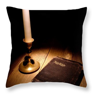 Old Bible And Candle Throw Pillow by Olivier Le Queinec