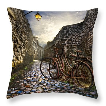 Old Bicycles On A Sunday Morning Throw Pillow by Debra and Dave Vanderlaan