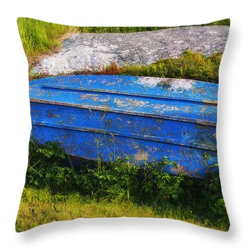 Old Blue Boat Throw Pillow by Garry Gay