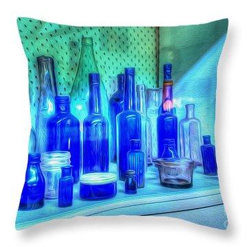 Old Blue Bottles Throw Pillow by Kaye Menner