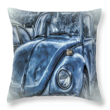 Old Blue Bug Throw Pillow