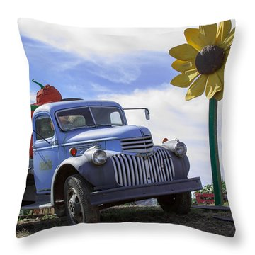 Old Blue Farm Truck  Throw Pillow by Patrice Zinck