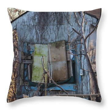 Old Blue Shack Throw Pillow by Tom Gari Gallery-Three-Photography