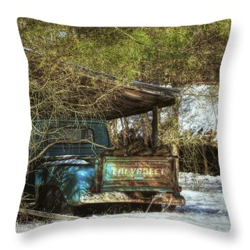Old Blue Tucked Away Throw Pillow
