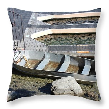 Old Boat And Dock Throw Pillow