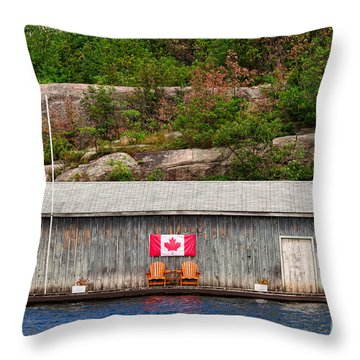 Old Boathouse With Two Muskoka Chairs Throw Pillow