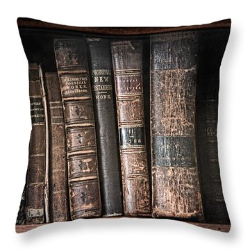 Old Books On The Shelf - 19th Century Library Throw Pillow by Gary Heller