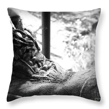 Throw Pillow featuring the photograph Old Boots by Clare Bevan