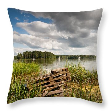 Old Bridge And Boats At The Lake Throw Pillow by Arletta Cwalina
