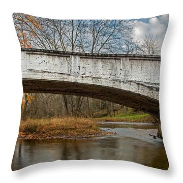 Old Bridge In Autumn Throw Pillow