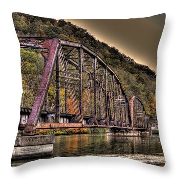 Old Bridge Over Lake Throw Pillow by Jonny D