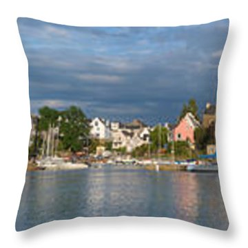 Old Bridge Over The Sea, Le Bono, Gulf Throw Pillow by Panoramic Images