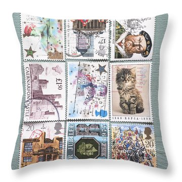 Old British Postage Stamps Throw Pillow