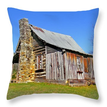 Old Cabin Along Macedonia Church Road Throw Pillow