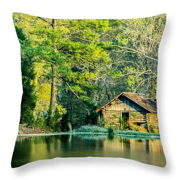Old Cabin By The Pond Throw Pillow