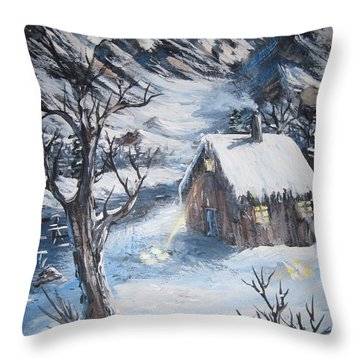 Throw Pillow featuring the painting Old Cabin by Megan Walsh