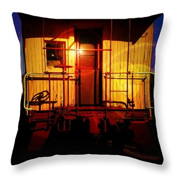 Aaron Lee Berg Throw Pillow featuring the photograph Old Caboose  by Aaron Berg