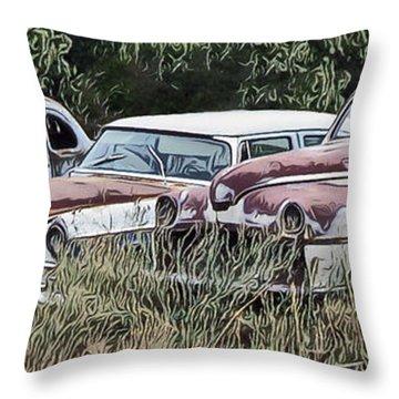 Old Car Graveyard Throw Pillow