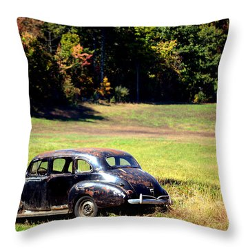 Old Car In A Meadow Throw Pillow