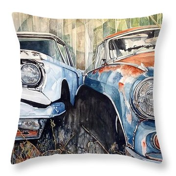 Old Cars Throw Pillow by Lance Wurst