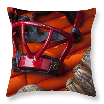 Old Catcher Mask Throw Pillow by Garry Gay