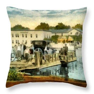 Old Chain Ferry Saugatuck Michigan Throw Pillow