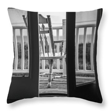Old Chair At The Beach House Throw Pillow