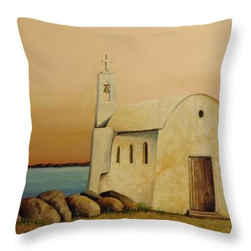 Old Chapel On Mykonos Throw Pillow by Martin Schmidt