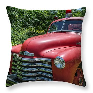 Old Chevy Fire Engine Throw Pillow by Susan  McMenamin