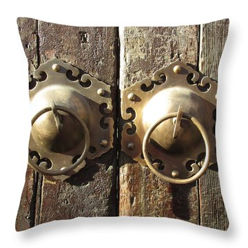 old Chinese door  Throw Pillow