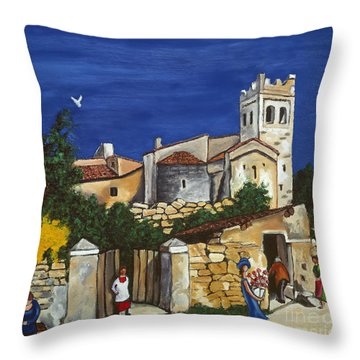Old Church And Flower Girl Throw Pillow by William Cain